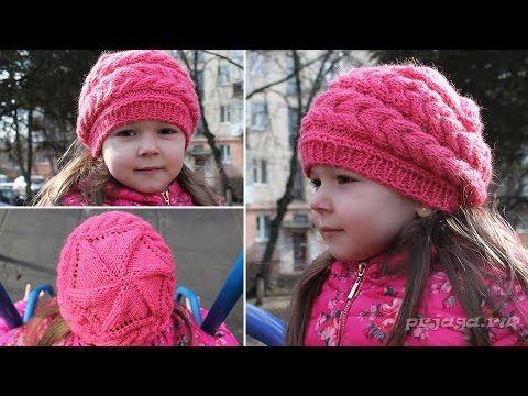 Детский берет спицами - выполнен клиньями - YouTube