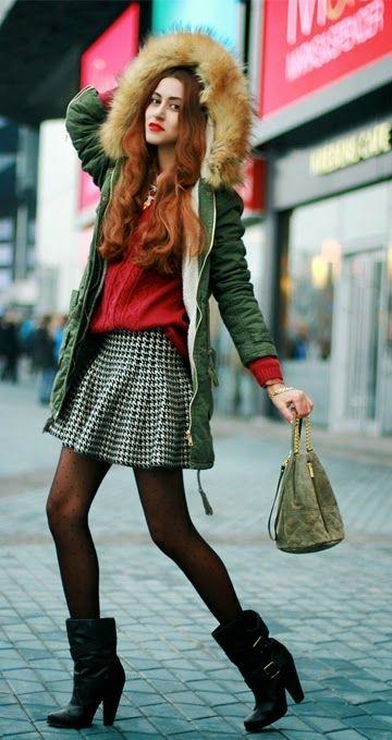 Houndstooth Skirt +  Faux Fur Hoodie Jacket