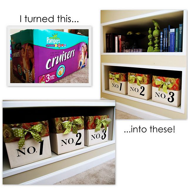 Save those heavy duty diaper boxes and recover them!  Great tutorial on how to do it and make it look great!: Diaper Boxes, Cardboard Boxes, Storage Boxes, Diapers Boxes, Diy Canvas, Canvas Bins, Storage Bins, Great Ideas, Storage Ideas