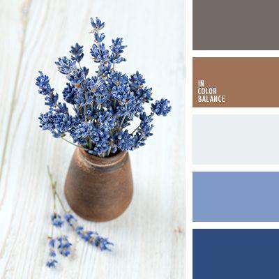 azul claro, celeste pálido, color arcilla, color lavanda, de lavanda, gris, gris-ratón, marrón, marrón grisáceo, marrón y azul oscuro, matices del azul oscuro.
