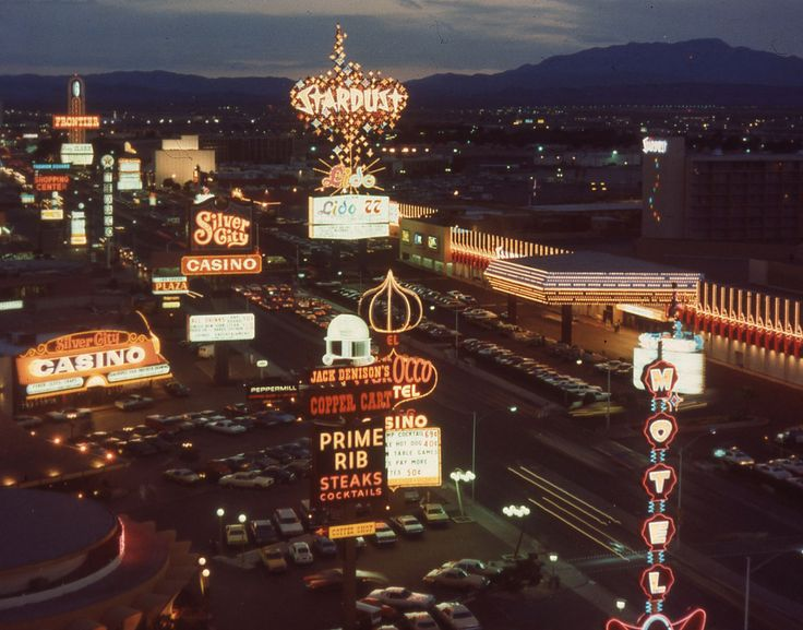 Las Vegas Strip, 1977. View from the Riviera of the Stardust, whose facade was recently remodeled. Photo: @neonmuseum via AIGA. Read: Neon Museum is on a Mission to Preserve Sin City's Luminescent Legacy