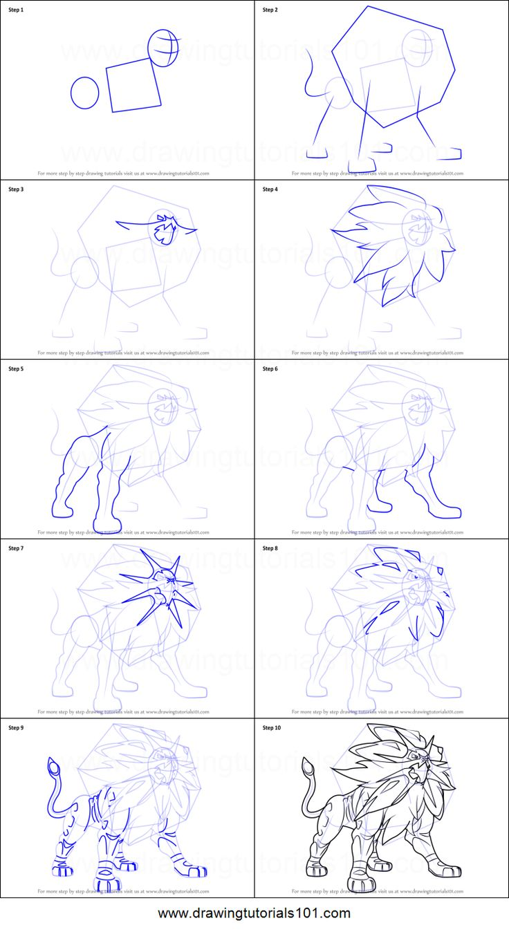 How To Draw Solgaleo From Pokemon Sun And Moon Printable Step By Drawing Sheet