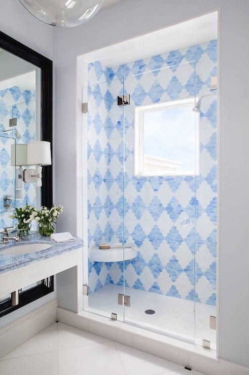Shower With Blue Tiles, Contemporary, Bathroom, Palmer Weiss