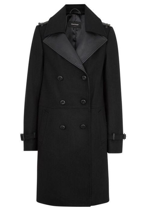 MACKAGE Leather Trimmed Wool Felt Blend Coat | Harvey Nichols