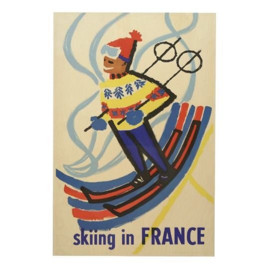 Skiing in France Retro Wood Print Travel Poster