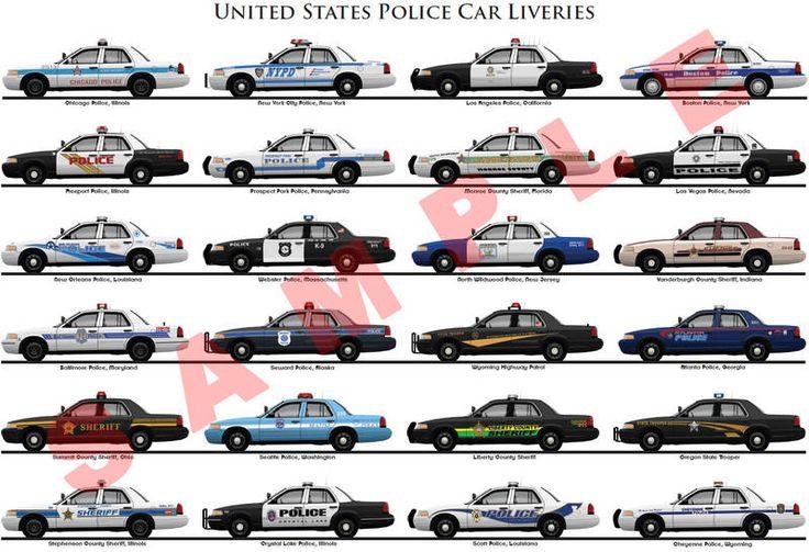 United States Police Car Liveries Poster Unique Car