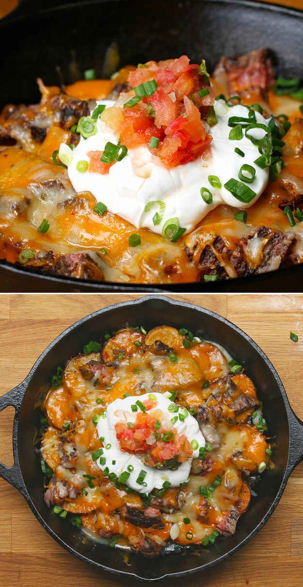 Steak And Potato Nachos  Your Cast Iron Skillet Will Never Be The Same After You Make These Steak And Potato Nachos