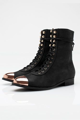 Jeffrey Campbell Zorro combat boot with rose gold cap toe