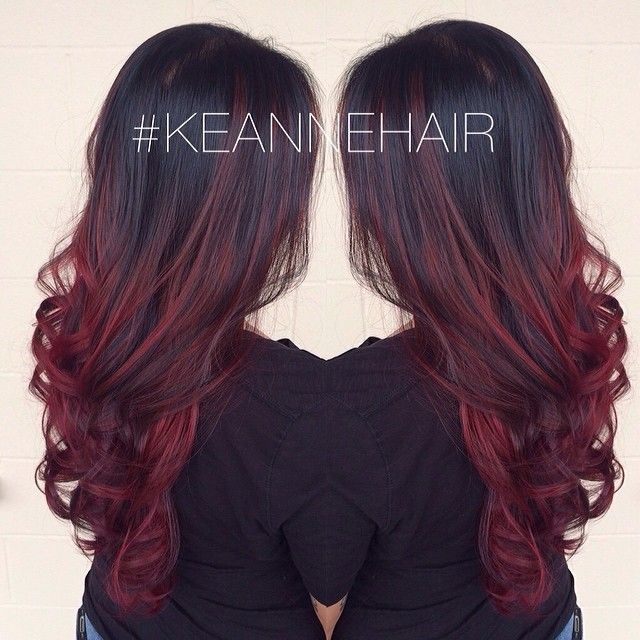 ❤️ cherry bombré hair. Brunettes. Black or dark brown hair with red