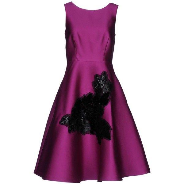 P.a.r.o.s.h. Knee-length Dress (2.550 DKK) ❤ liked on Polyvore featuring dresses, mauve, purple sequin dress, sleeveless dress, zip dress, purple sleeveless dress and mauve dress