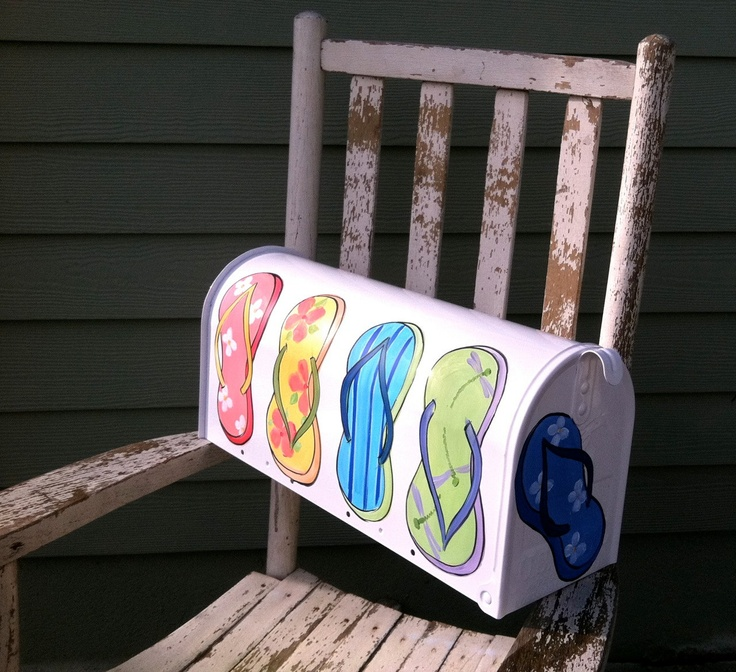 Colorful Flip Flops on a Hand Painted Mailbox by DancingBrushes