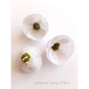 画像: ★手作りアクセに☆シルク糸:イーネオヤ ひなげし(ゲリンジッキ) ホワイト大 ビーズ付