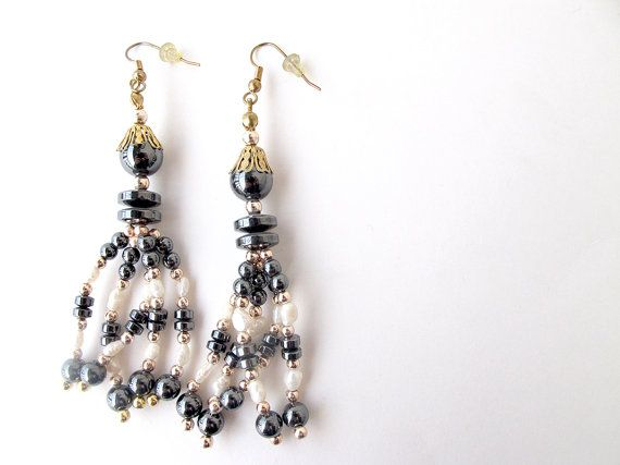 Hematite earrings gold and black gold by APlusJewelryCrafts