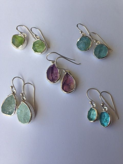 Earrings with raw gemstones in sterling silver  from Alison Blain