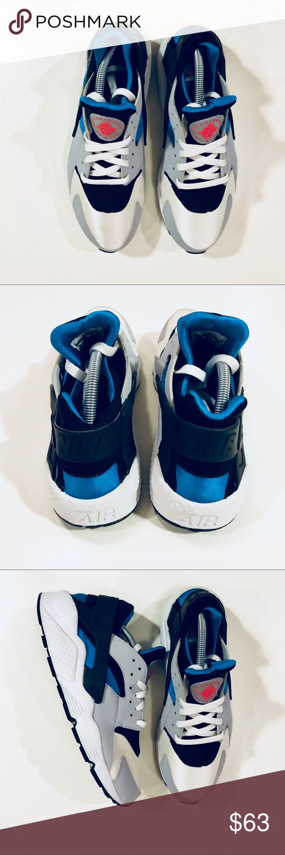 """Nike Air Huarache """"Blue Hero"""" (Limited Release) The """"Blue Hero"""" colorway is officially a white/wolf grey-blue hero model with the blue hero accents on the heel and the inner lining of the bootie. Shoes runs small so a size 11 fits like a size 10. Nike Shoes Sneakers"""