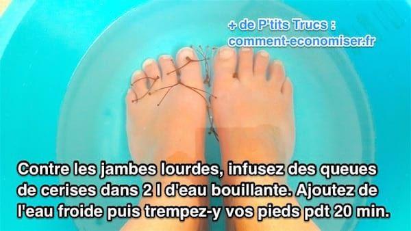Un Bain De Pied Avec Des Queues De Cerises Pour Soulager Les Jambes Lourdes Jambes Lourdes Remede Lourdes