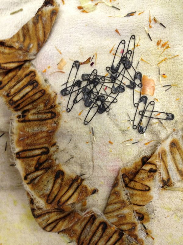Rusty patterns made with pins. This is on fabric not paper but who cares: it's a thing of beauty.