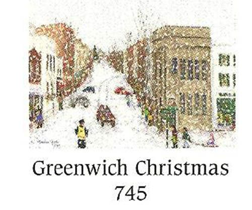 "KP745 Greenwich Xmas tea light holder, $22.95. Quaint New England winter village scene.  This round bone china tealight holder is hand-painted on the inside to prevent chipping and fading. LED tea light only.  Apprx. 3"" dia, 3"" high. Gift boxed."