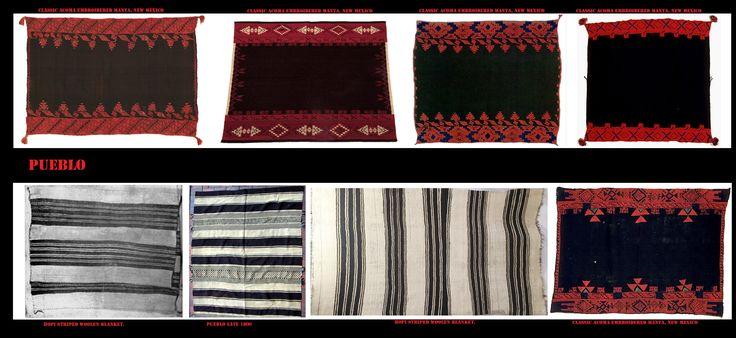 Coperte - mantelle Hopi e Acoma. I Pueblo hanno una lunga tradizione tessile. Per i loro tessuti, fin dai tempi precolombiani, hanno utilizzato oltre una grande varietà di materiali vegetali anche le piume e pellicce per fare calde coperte. Con l'introduzione nella regione delle pecore, per opera degli spagnoli, la lana ha cominciato a sostituire il cotone e gli altri materiali nel settore tessile Pueblo.