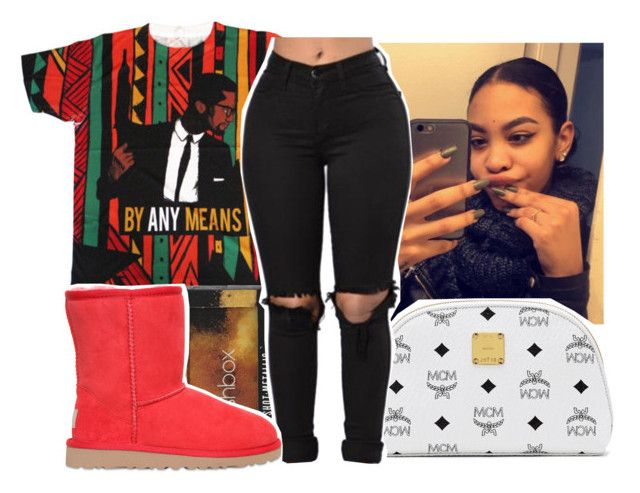 """by any means"" by aribearie ❤ liked on Polyvore featuring Smashbox, MCM and UGG Australia"