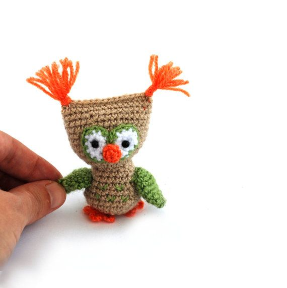 miniature owl doll little owl crochet by tinyworldbycrochAndi