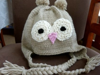 Knitted Owl Hat - made to order