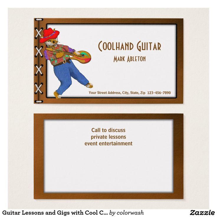 guitar lessons and gigs with cool cat musician business card