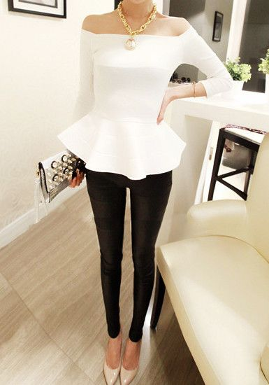 White peplum Off-Shoulder Neckline, black pants, nude heels. Now THAT'S how u work neutrals!
