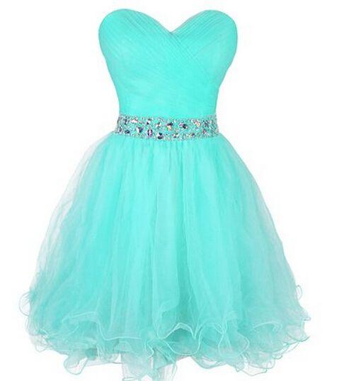 Cute Short Tulle Sweetheart Beaded Waist Ball Gown Short Prom Dresses, Graduation Dresses, Homecoming Dresses, Formal Dresses