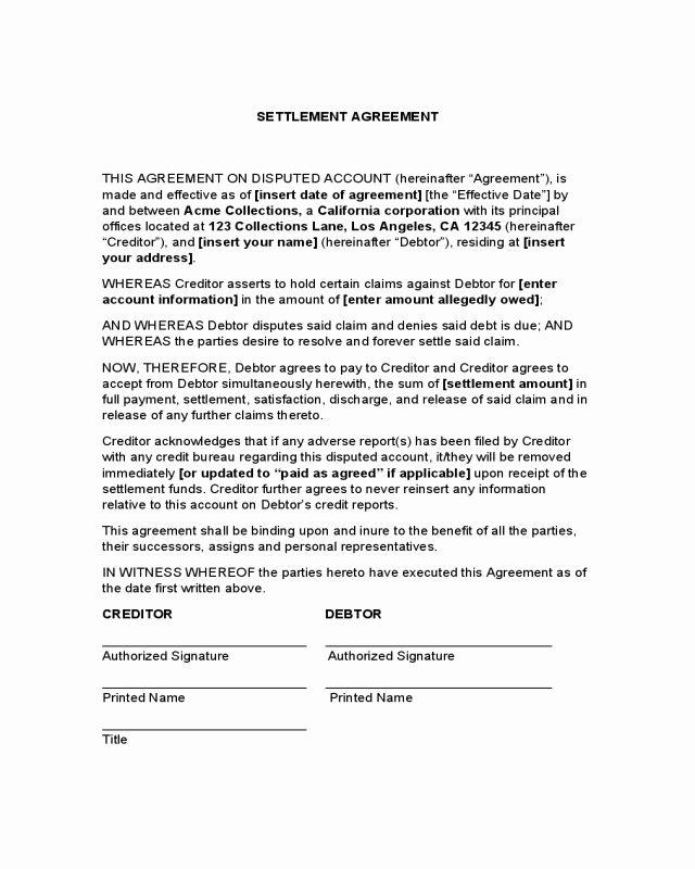 Payment Settlement Agreement Elegant 2019 Debt Settlement Agreement Form Fillable Printable Debt Settlement Divorce Settlement Agreement Lettering