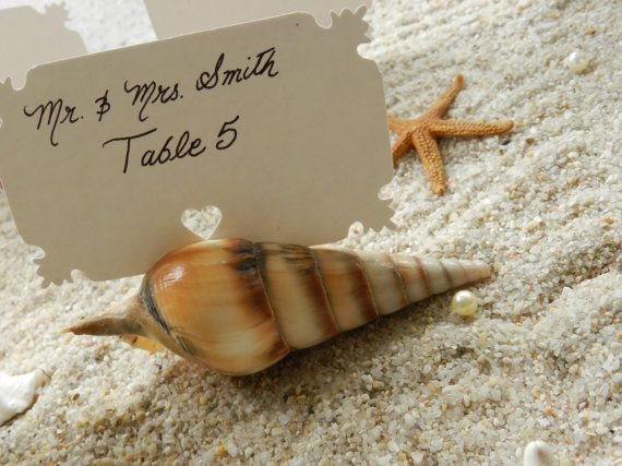 Seashell Place Card Escort Card Holders to Compliment by ChiKaPea, $12.00