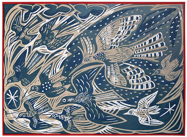 Mark Hearld's The Flock screen print