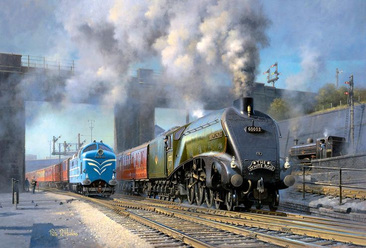 Painting of a Deltic diesel and A4 pacific leaving London