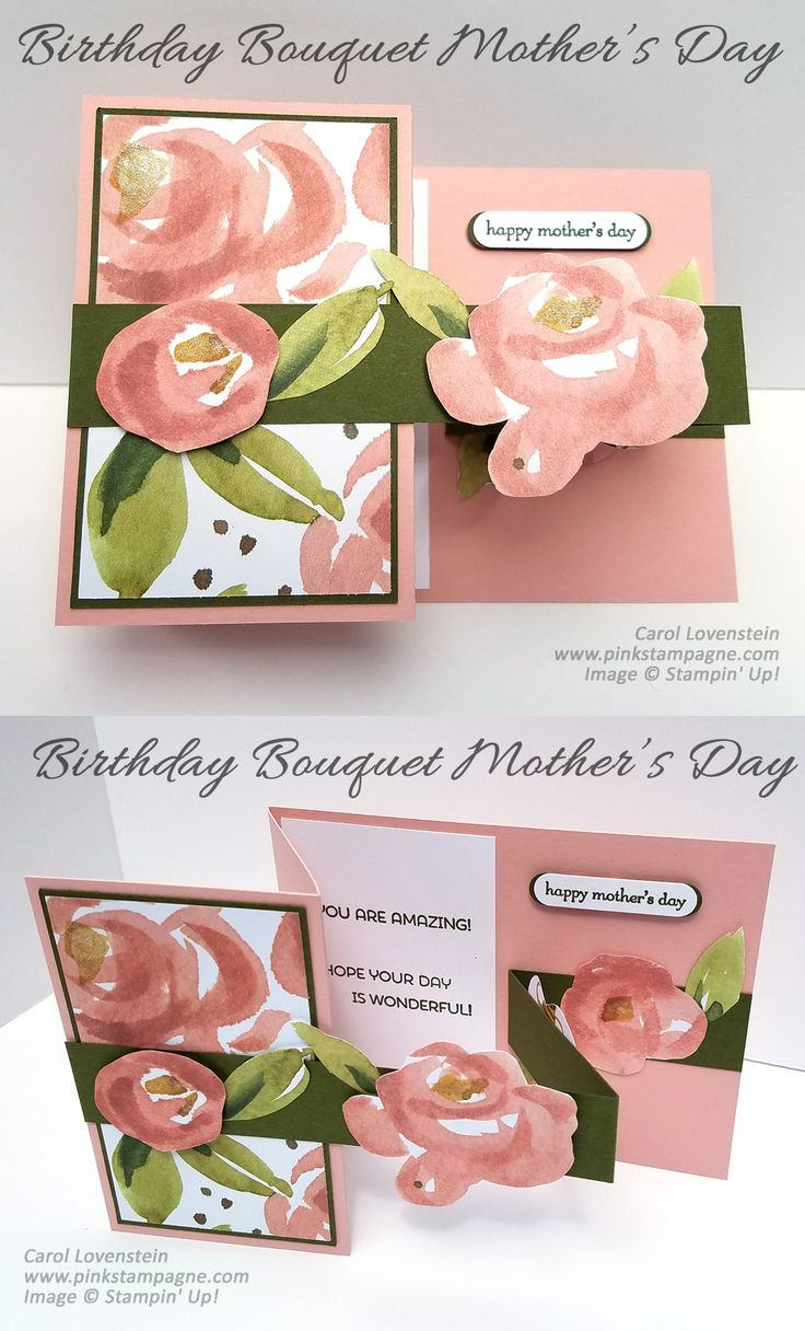 "Birthday Bouquet Mother's Day |  I've been wanting to make one of these fun fold cards | When deciding what paper to use I perused my ""stash"" and came upon this pretty print from the Birthday Bouquet Designer Series Paper Pack.  My mom loves to garden so it was a win-win 
