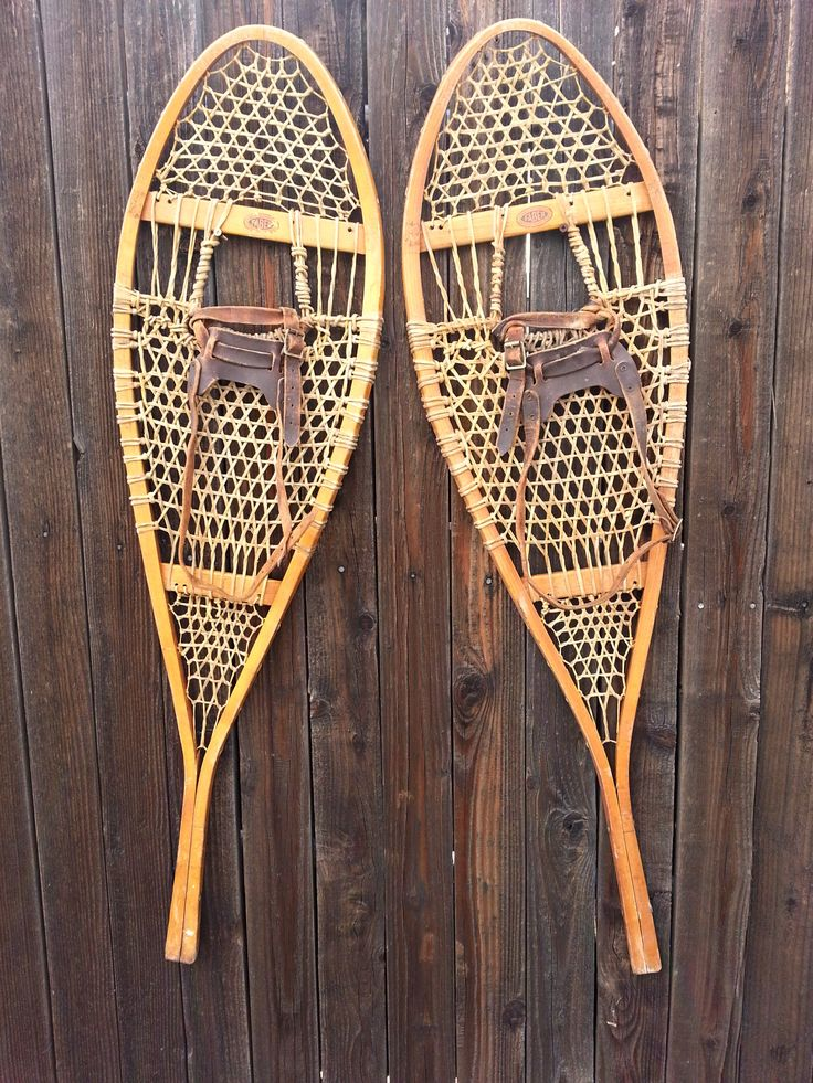 Classic Canadian Wooden Snowshoes Wood, Rawhide, Leather, Metal 42 3/4x12 Canada Vintage Winter This pair of vintage Faber snowshoes is ready for your ski chalet. They have been handmade in Canada by