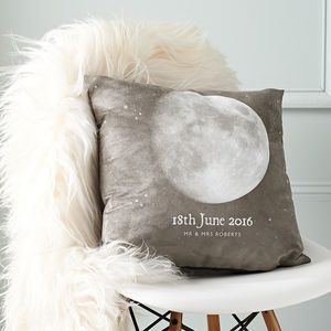 "Personalised Special Date 'Moon Phase' Cushion | Introducing #Hygge – our favourite new excuse to snuggle under a chunky knit with a cup of cocoa. Pronounced ""hooga"", this Danish trend is all about embracing cosiness and enjoying the good things in life surrounded by your favourite people. That definitely sounds like something we can get on board with."