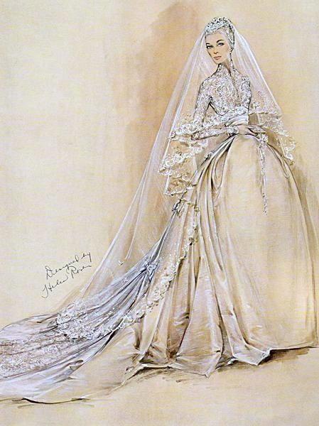 Grace Kelly wedding dress sketch