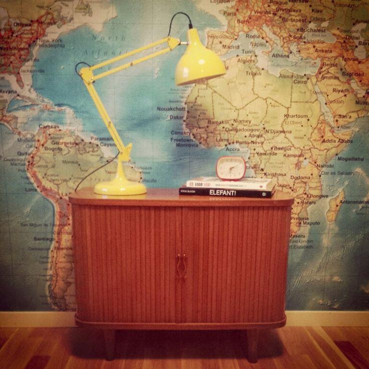 Map wall and teak furniture
