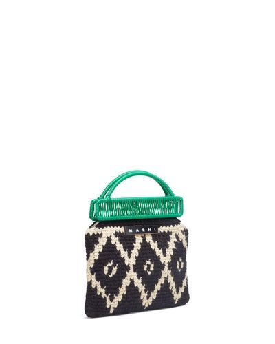 b312b52901 Marni Market Green Frame Bag In Crochet Wool With Lozenge Pattern in Green  - Lyst