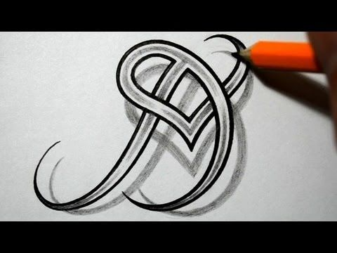 Initial D and Heart Combined Together - Celtic Weave Style - Letter Tattoo Design