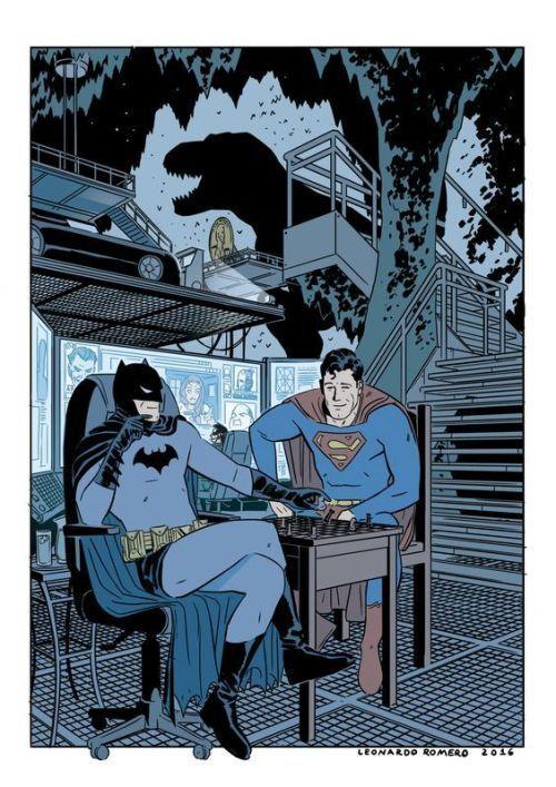 batman superman in the bat cave leonardo romero trinity