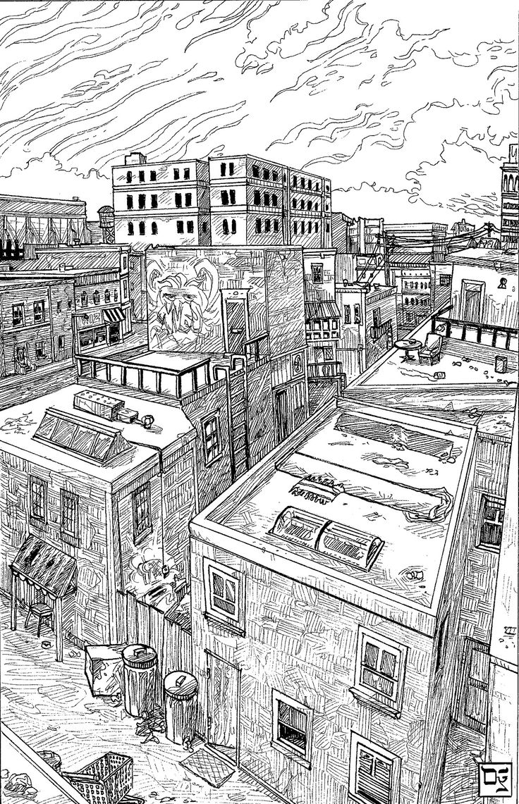 Dylan Rohn draws things. Like despondent cities seen from above. #inktober #architecture #penandink