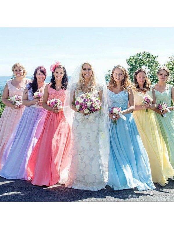 Beading Sweetheart A-line Bridesmaid Dress-Colorful Floor-length Chiffon Dress CHBD-70916