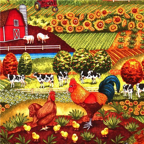 Poultry Fabric Animal Fabric With Farm Chicken Cow