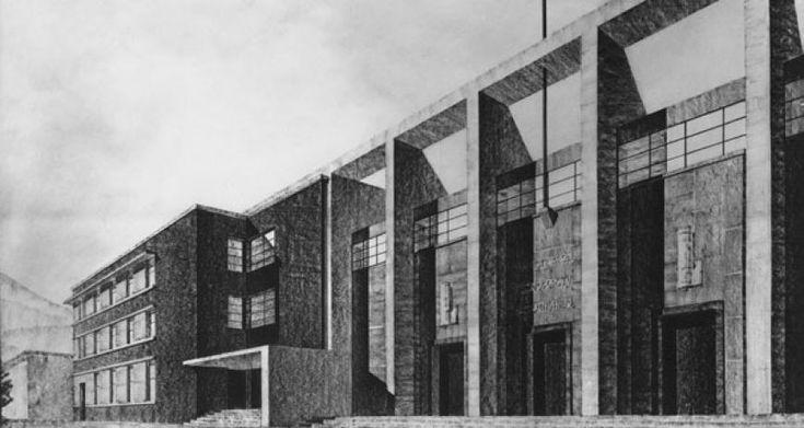 Giuseppe Vaccaro Dopolavoro di Vergato, 1929, Disegno di concorso, facciata Teatro 1929, foto Vasari-Roma, 13,7x25,7 cm.