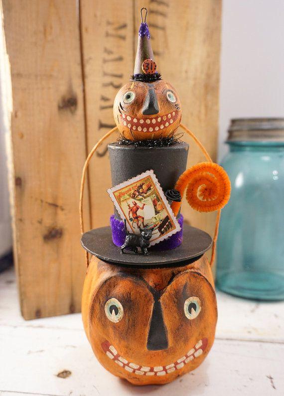 halloween folk art pumpkin halloween decoration jack o lantern candy - Vintage Style Halloween Decorations