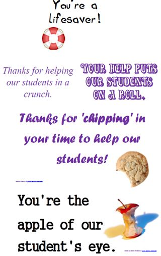 American Education Week - fun gifts for the staff! FREE printout for lifesavers, Crunch candy bars, Tootsie Rolls, chocolate chip cookies, and apples!