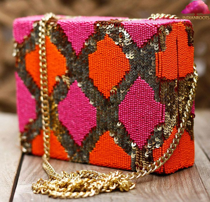 Orange, Pink & Golden Sequined & Bead Embellished Clutch by Prerna Agarwal at Indianroots.com