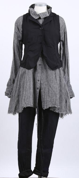 mo koshji - Longbluse Leinen Seide Stripes grey - Sommer 2015 - stilecht - mode für frauen mit format...