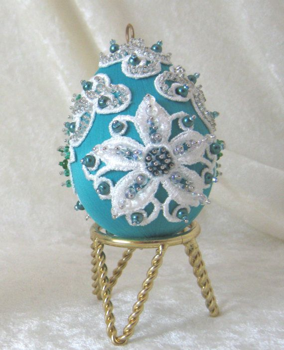 E103 Teal and White Satin Ornament by WhiteHawkOriginals on Etsy, $15.00